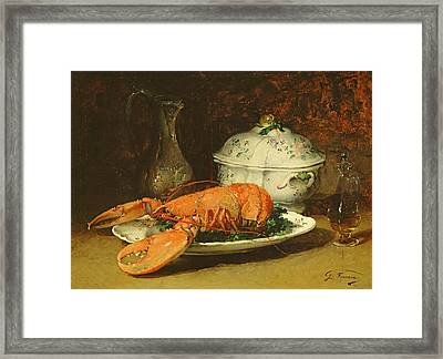 Still Life With A Lobster And A Soup Tureen Framed Print by Guillaume Romain Fouace