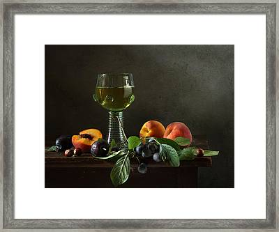 Still Life With A Roamer And Fruit Framed Print by Diana Amelina