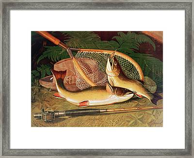 Still Life With A Salmon Trout, A Rod And A Net Framed Print by Thomas Sedgwick Steele