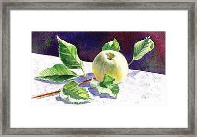 Still Life With Apple Framed Print by Irina Sztukowski