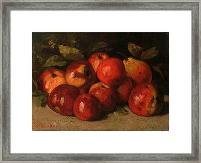 Still Life With Apples And A Pear Framed Print by Gustave Courbet