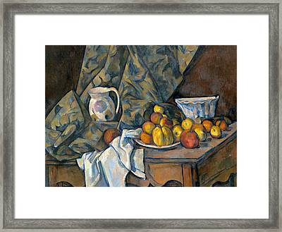 Still Life With Apples And Peaches Framed Print by Paul Cezanne