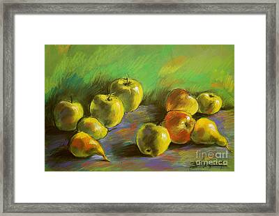 Still Life With Apples And Pears Framed Print by Mona Edulesco