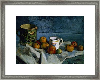 Still Life With Apples Cup And Pitcher Framed Print by Paul Cezanne