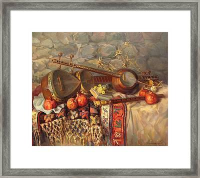 Still-life With Armenian Musical Instruments Duduk Thar And Qyamancha Framed Print by Meruzhan Khachatryan