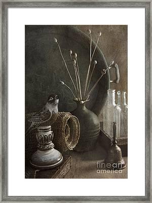 Still Life With Bird Framed Print by Elena Nosyreva