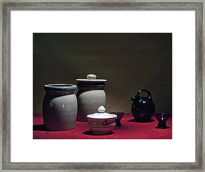 Still Life With Blue Pitcher Framed Print by Larry Olsson