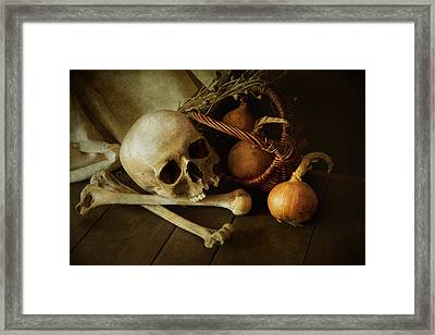 Still Life With Bones And Onions Framed Print by Jaroslaw Blaminsky