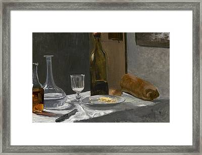 Still Life With Bottle Carafe Bread And Wine Framed Print by Claude Monet
