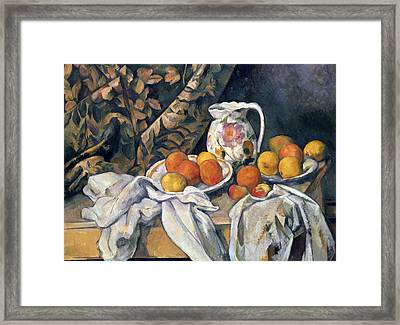 Still Life With Drapery Framed Print by Paul Cezanne