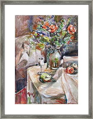 Still Life With Figural Background Framed Print by Becky Kim