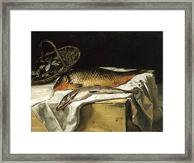 Still Life With Fish Framed Print by Frederic Bazille