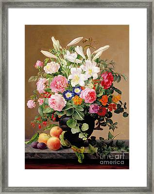 Still Life With Flowers And Fruit Framed Print by V Hoier