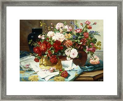 Still Life With Flowers And Sheet Music Framed Print by Jules Etienne Carot
