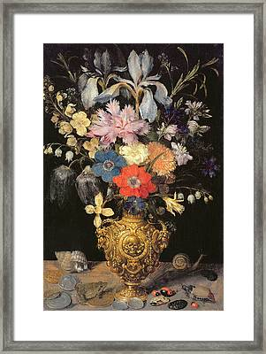 Still Life With Flowers, C.1604 Framed Print by Georg Flegel