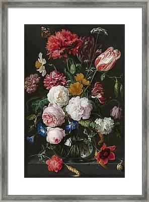 Still Life With Fowers In Glass Vase Framed Print by Jan Davidsz de Heem