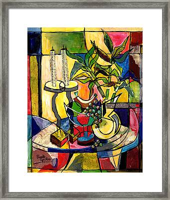 Still Life With Fruit Candles And Bamboo Framed Print by Everett Spruill