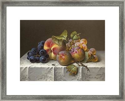 Still Life With Grapes And Peaches Framed Print by Celestial Images