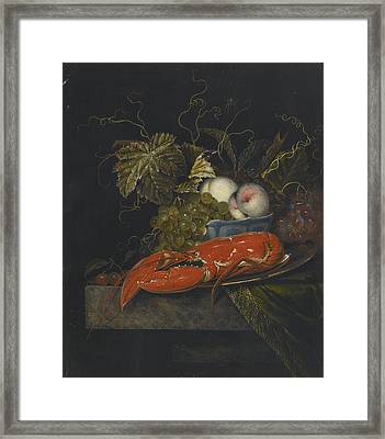 Still Life With Grapes Peaches And A Lobster Framed Print by Celestial Images