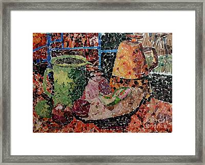 Still Life With Green Jug Collage Framed Print by Caroline Street