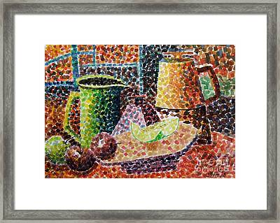 Still Life With Green Jug Painting Framed Print by Caroline Street