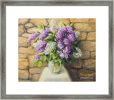Still Life With Lilacs Framed Print by Kiril Stanchev