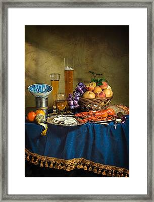 Still Life With Lobster Fruits And Great Salt Framed Print by Levin Rodriguez