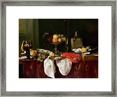 Still Life With Lobster Oil On Canvas Framed Print by Abraham Hendricksz van Beyeren
