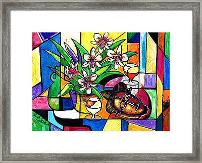 Still Life With Orchids And African Mask Framed Print by Everett Spruill