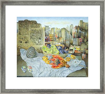 Still Life With Papaya And Cityscape, 2000 Oil On Canvas Framed Print by James Reeve