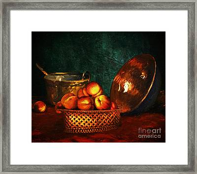 Still Life With Peaches And Copper Bowl Framed Print by Lianne Schneider