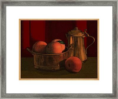 Still Life With Peaches Framed Print by Meg Shearer