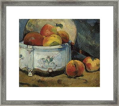 Still Life With Peaches Framed Print by Paul Guaguin