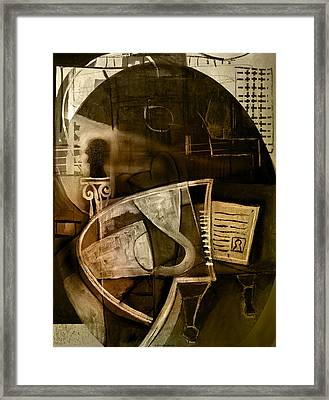 Still Life With Piano And Bust Framed Print by Kim Gauge