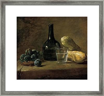 Still Life With Plums Framed Print by Jean-baptiste-Simeon Chardin