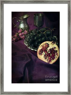 Still Life With Pomegranate And Dark Grapes Framed Print by Jaroslaw Blaminsky