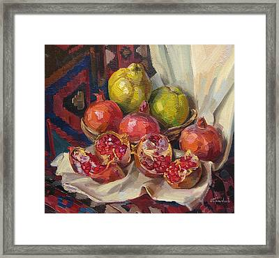 Still Life With Pomegranates And Quinces Framed Print by Meruzhan Khachatryan