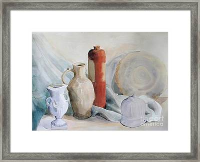 Still Life With Pottery And Stone Framed Print by Greta Corens