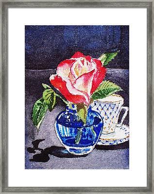 Still Life With Rose Framed Print by Irina Sztukowski