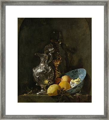 Still Life With Silver Pitcher Framed Print by Willem Kalf