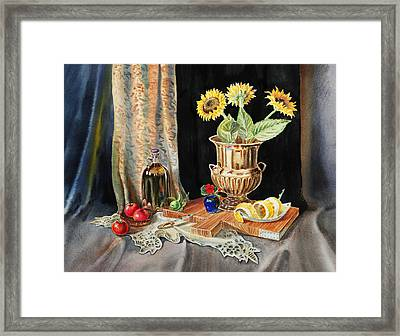 Still Life With Sunflowers Lemon Apples And Geranium  Framed Print by Irina Sztukowski