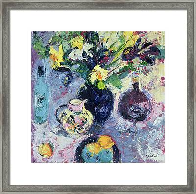 Still Life With Turquoise Bottle Framed Print by Sylvia Paul