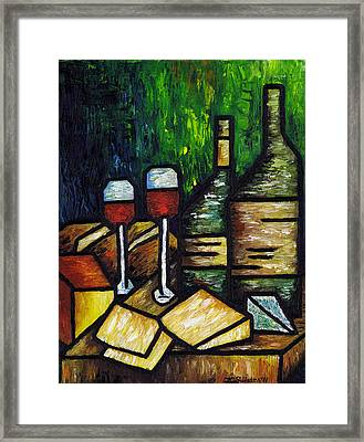 Still Life With Wine And Cheese Framed Print by Kamil Swiatek