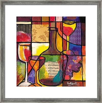 Still Life With Wine And Fruit Framed Print by Everett Spruill
