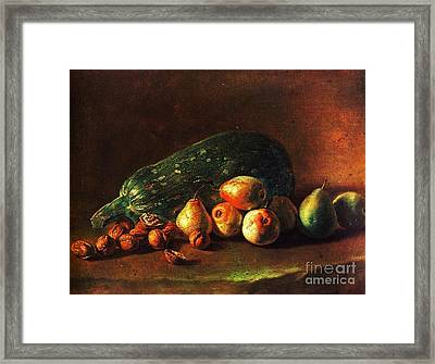 Still Life - Zuchini -pears - Walnuts Framed Print by Pg Reproductions