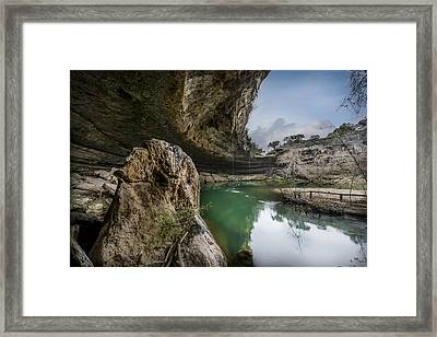 Still Waters At Hamilton Pool Framed Print by David Morefield