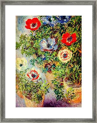 Stilll Life With Anemones Framed Print by Celestial Images