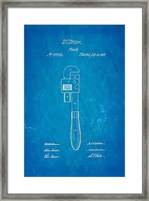 Stillson Wrench Patent Art 1870 Blueprint Framed Print by Ian Monk
