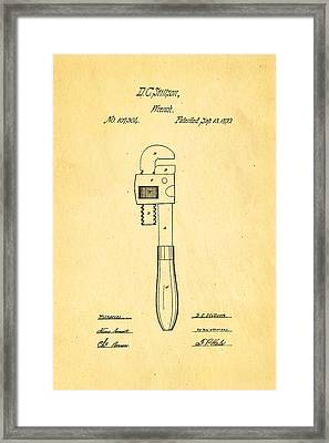 Stillson Wrench Patent Art 1870 Framed Print by Ian Monk