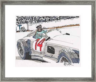 Stirlig Moss Mercedes Benz Grand Prix Of Belgium Framed Print by Paul Guyer
